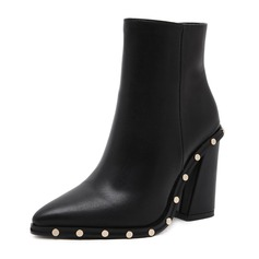 Women's Leatherette Chunky Heel Boots Ankle Boots With Rivet shoes