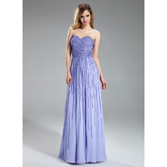 A-Line/Princess Sweetheart Floor-Length Chiffon Prom Dress With Sequins