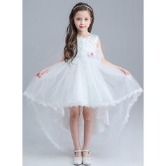 A-Line/Princess Asymmetrical Flower Girl Dress - Polyester Sleeveless Scoop Neck With Lace/Appliques/Bow(s)
