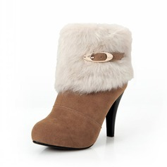 Suede Cone Heel Platform Ankle Boots With Buckle Fur shoes