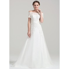 A-Line/Princess Off-the-Shoulder Court Train Tulle Lace Wedding Dress