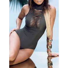 Sexy Solid Color One-piece (202082459)