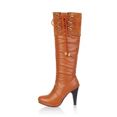 Women's Leatherette Stiletto Heel Platform Closed Toe Knee High Boots shoes