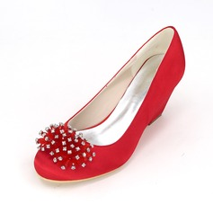 Women's Satin Stiletto Heel Closed Toe Pumps Wedges With Rhinestone