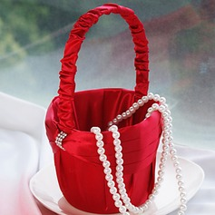 Flower Girl Basket In Red Sash With Rhinestone(102018102)
