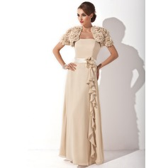 A-Line/Princess Strapless Floor-Length Chiffon Mother of the Bride Dress With Flower(s) Cascading Ruffles