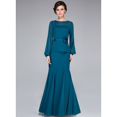 Trumpet/Mermaid Scoop Neck Floor-Length Chiffon Mother of the Bride Dress With Flower(s)