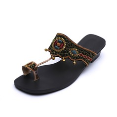 Leatherette Low Heel Sandals Slippers With Beading shoes