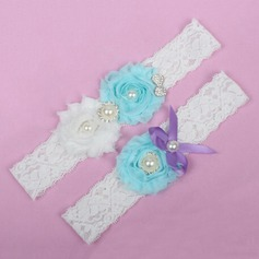 Amazing Lace/Chiffon With Rhinestone/Imitation Pearls Wedding Garters