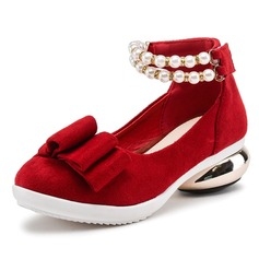Girl's Suede Low Heel Closed Toe Flats With Pearl