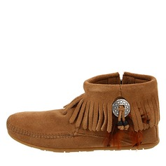 Women's Velvet Low Heel Flats Boots Ankle Boots With Tassel shoes