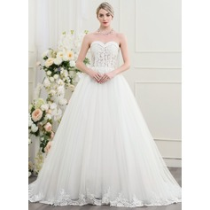 Ball-Gown Sweetheart Court Train Tulle Wedding Dress With Beading Sequins