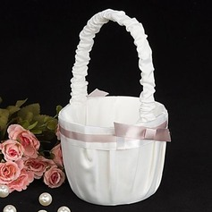 Pure Elegance Wedding Flower Girl Basket In White Satin(102018100)