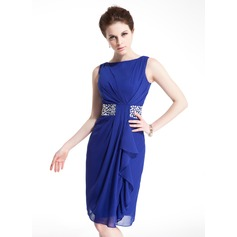 Sheath/Column Scoop Neck Knee-Length Chiffon Cocktail Dress With Beading Cascading Ruffles