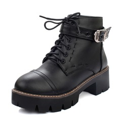 Women's Leatherette Chunky Heel Boots Ankle Boots Martin Boots With Lace-up shoes