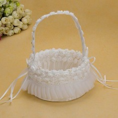 Ivory Flower Basket With Ribbons Faux Pearl (102025558)