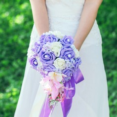 Elegant Cascade Satin/Artificial Silk Bridal Bouquets
