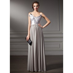 A-Line/Princess Scalloped Neck Floor-Length Chiffon Charmeuse Evening Dress With Ruffle