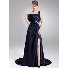 A-Line/Princess Off-the-Shoulder Sweep Train Charmeuse Prom Dress With Ruffle Appliques Lace Split Front