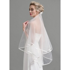 Two-tier Pencil Edge Elbow Bridal Veils With Applique