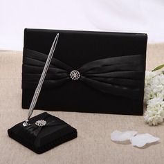 Simple Satin Rhinestones Guestbook/Pen Set