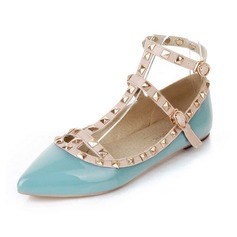 Leatherette Flat Heel Flats Closed Toe With Rivet Buckle shoes