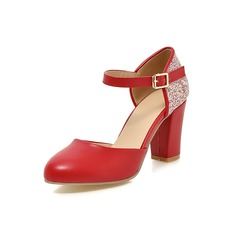 Women's Leatherette Chunky Heel Pumps With Sparkling Glitter shoes