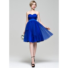 A-Line/Princess Sweetheart Knee-Length Tulle Bridesmaid Dress With Ruffle