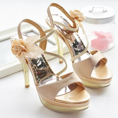 Leatherette Fabric Stiletto Heel Platform Sandals With Satin Flower