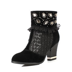 Suede Chunky Heel Ankle Boots With Rhinestone shoes