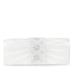 Unique Satin With Imitation Pearl Clutches