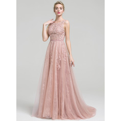 A-Line/Princess Scoop Neck Court Train Tulle Lace Evening Dress With Beading (017093495)