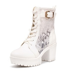 Leatherette Closed Toe With Buckle Stitching Lace Lace-up shoes