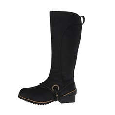 Women's Real Leather Low Heel Closed Toe Boots Knee High Boots shoes