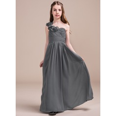 A-Line/Princess Floor-length Flower Girl Dress - Chiffon Sleeveless One-Shoulder With Ruffles/Flower(s)