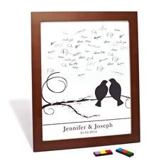 "Personalized ""Cherry Blossom and Love Birds"" Canvas Signature Platters"