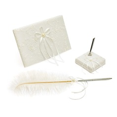Elegant Lace/Satin Faux Pearl/Ribbons Guestbook/Pen Set