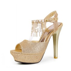 Sparkling Glitter Stiletto Heel Sandals Platform Slingbacks With Tassel shoes (087047453)