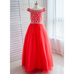 Ball Gown Floor-length Flower Girl Dress - Satin/Tulle Off-the-Shoulder With Sequins/Rhinestone