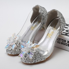 Kids' Leatherette Sparkling Glitter Low Heel Closed Toe Flats Pumps With Rhinestone