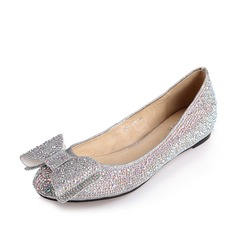 Women's Sparkling Glitter Flat Heel Closed Toe Flats With Bowknot Rhinestone