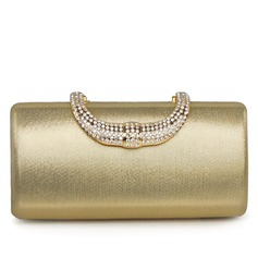 Elegant Faux Leather With Rhinestone Clutches