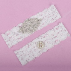 Elegant Lace With Rhinestone/Imitation Pearls Wedding Garters (104068579)