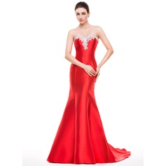 Trumpet/Mermaid Sweetheart Sweep Train Satin Prom Dress With Beading Appliques Lace Sequins