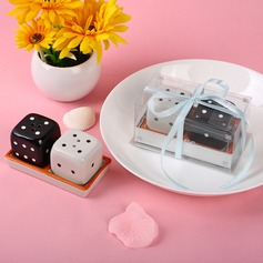 Dice Design Ceramic Salt & Pepper Shakers With Ribbons (Set of 2 pieces)