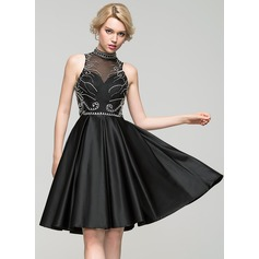 A-Line/Princess High Neck Knee-Length Satin Cocktail Dress With Beading Sequins