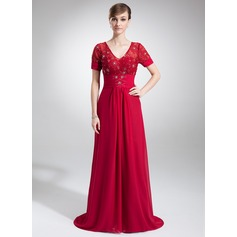 A-Line/Princess V-neck Court Train Chiffon Lace Mother of the Bride Dress With Ruffle Beading