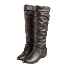 Women's Leatherette Flat Heel Flats Closed Toe Knee High Boots shoes