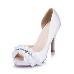 Women's Satin Stiletto Heel Peep Toe Pumps With Ruched