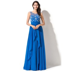 A-Line/Princess Scoop Neck Sweep Train Chiffon Prom Dress With Beading Sequins Cascading Ruffles